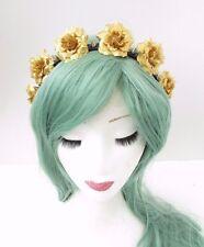 Gold Black Rose Silver Spike Stud Flower Headband Sugar Skull Pastel Goth 3606