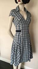 Karen Millen Cotton Blend, Blue/Grey Checked A-Line Shirt Dress, size UK 8