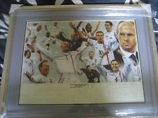 ORIGINAL HAND PAINTED ENGLAND WATER COLOUR PAINTING WORLD CUP 2002 GLASS FRAMED