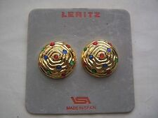 Acrylic Clip - On Round Stone Costume Earrings