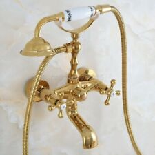 Polished Gold Brass Wall Mounted Bathtub Faucet with Handheld Shower  lna845