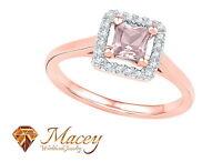 10K Rose Gold Morganite Diamond Beautifully Designed Princess Halo Ring .37Ct