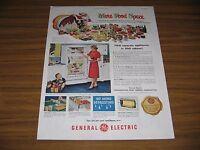 1951 Print Ad GE General Electric Refrigerators More Food Space Santa Claus
