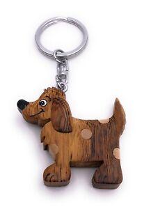Hund mit Punkten Haustier Holz Edel Handmade Schlüsselanhänger Anhänger