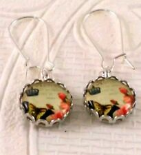 Butterfly & Crown 12mm Cabochon on wire drop silver toned earrings JoMacDesigns