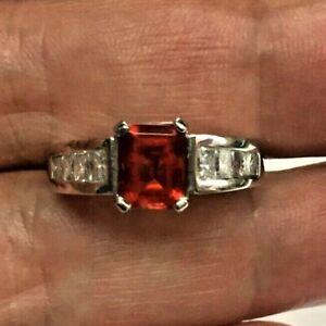 Platinum Red/Orange Emerald-Cut Gemstone & Emerald-Cut Diamond Estate Ring by je