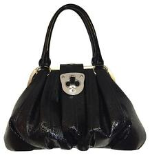 ALEXANDER MCQUEEN ELVIE SATCHEL LTD EDITION EMBOSSED JET PATENT LEATHER PURSE