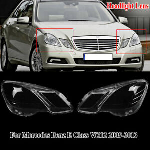 LH&RH Headlamp Headlight Lens Cover For 2009-2012 Mercedes Benz E Class W212