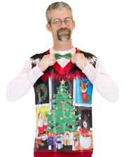 Lg Faux Real Costume T- shirt Xmas Christmas Ugly Noel sweater vest funny party