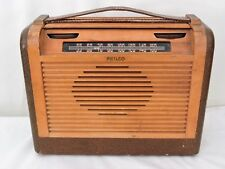 Vintage 1940s PHILCO Wood & Leather Roll Top Tube Radio Model #46-350