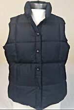 Land's End Ladies Down Vest Large Size 14-16 Black Sleeveless Snap Front