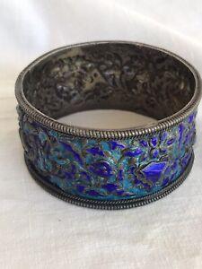 Antique Silver Enamel Bracelet Large Bangle 110 grams