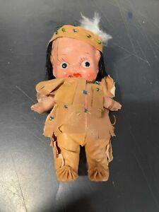 "Antique Miniature 4.5""  Bisque ?? Native American  Doll"
