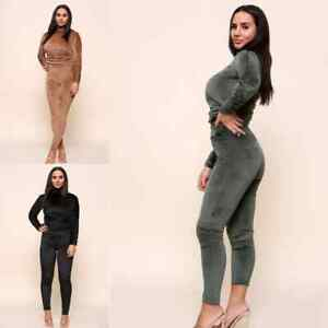 Women's Velour Ruched side jogging Loungewear Top Ladies Tracksuit co-ord  set