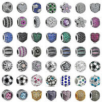 925 European Sterling Crystal Silver Pave CZ Charm Bead for Charms Bracelet S-2