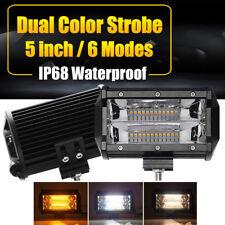 5Inch Work Cube Side 6 modes LED Light Bar Pod White & Amber Strobe Lamp SUV