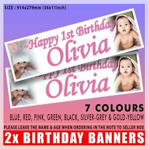 2x PERSONALISED PHOTO BANNERS EVERY OCCASSION CHRISTENING BIRTHDAY PARTY EXPENS
