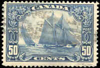 "Stamp Canada Used 1929 50c F+ Scott #158 ""Bluenose"" King George V Scroll"
