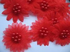 10 X RED ORGANZA DAISY BEADED FLOWER EMBELLISHMENTS HEADBANDS HAIR BOWS CRAFTS