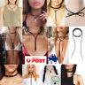 Boho Leather Tube Black Suede Cord String Wrap Tie Rhinestone Choker Necklace