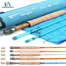Maxcatch 3-8WT Fiberglass Fly Fishing Rod in Blue,Orange,or Transparent