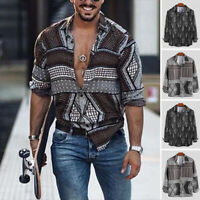 INCERUN Mens Floral Hippy Shirt Long Sleeve Button Down Holiday T shirt Tops Tee
