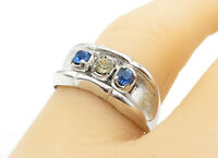 925 Sterling Silver - Blue & White Topaz Concave Detail Band Ring Sz 8 - R12309