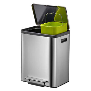 Kitchen Recycling Bin Stainless Steel Two 15L Inner Buckets 30L EKO Ecocasa Bin