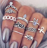 10pcs/set Mid Midi Above Knuckle Joint Ring Band Tip Finger Stacking Punk Rings