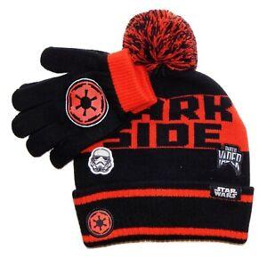 DARTH VADER STAR WARS DISNEY Boys Cuffed Knit Beanie Winter Hat & Gloves Set $24