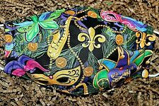 Adult Mardi Gras Theme Adjustable Handmade Cotton Fabric Face Mask Washable