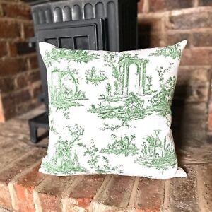 1142. Green Toile de Jouy 100% cotton cushion cover, Various sizes