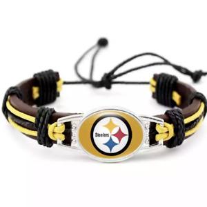 Pittsburgh Steelers Bracelet Football Pull String Adjustable Bracelet Free Ship