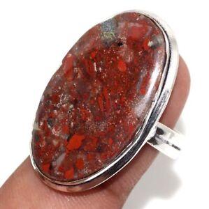 Red Jasper Gemstone Ethnic Handmade Ring Jewelry Size-8 JW