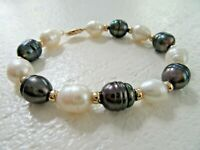 "14k Yellow Gold Baroque 8mm Black White Pearl Bracelet Gold Beads Tahitian 7.5"""