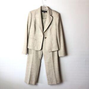 Kasper Sand Beige Lined Pant Suit Sz 8P