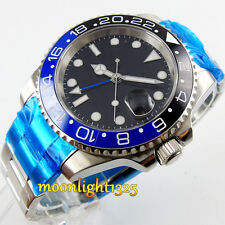 Parnis 40mm black&blue ceramic bezel GMT sapphire glass Automatic mens watch