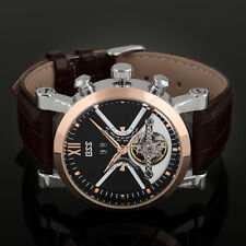 ESS Mens Watch Mechanical Silver Case Leather Date Display Tourbillon Luxury