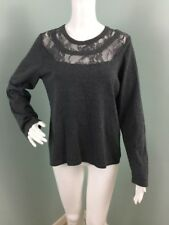 NWT Womens Vince Camuto Gray Lace Neckline Sweater Sz L Large