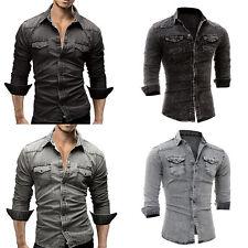 Luxury Mens Slim Fit Casual Washed Denim Long Sleeve Shirts Summer Shirt Plus XL