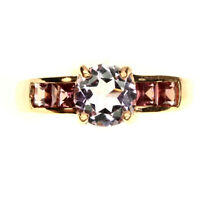 Round 7mm Purple Amethyst Rhodolite 14k Rose Gold Plate 925 Sterling Silver Ring