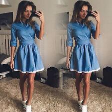 Women Lace Denim Shirt Dress Long Sleeve Casual Jeans Pleated Skirt Mini Dresses