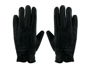 Ladies Leather Gloves Women Genuine Real Fleece Lined Winter Black S/M M/L buttn