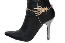 Women Western Boot Bracelet Gold Chains Bling Anklet Shoe Charm Skull Bones Hand