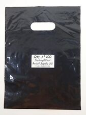 "100 Qty. 9"" x 12"" Black Glossy Low Density Merchandise Bag Retail Shopping Bags"