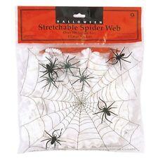 Halloween Spider Web 4 Spider Stretchable White Cobweb Fancy Dress Decoration