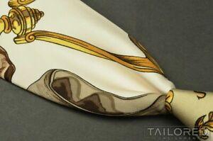 """HERMES SCARF PRINT Brown Novelty 100% Silk Mens Luxury Tie - 3.75"""""""