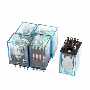 DC12V 5A Coil Voltage 14 Pin Terminal 4PDT Electromagnetic Power Relay 5Pcs