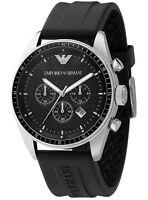 Emporio Armani AR0527 Mens Classic Black Silicone Rubber Chronograph Watch SALE