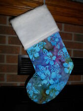 TROPICAL HIBISCUS BATIK HANDMADE CHRISTMAS STOCKING, beach, boho * FREE SHIP